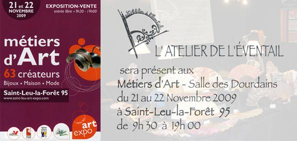 expo Saint Leu la Forêt, 21 et 22 novembre 2009,Métiers d'art, Salle des Dourdains, 95.