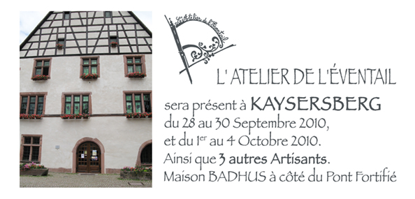 Expo au Badhus, kaysersberg, Septembre,/Octobre, 2010, de 10h à 19h.